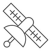 Satellite thin line icon. Civilian or army earth observation object on orbit symbol, outline style pictogram on white background. Military sign for mobile concept and web design. Vector graphics