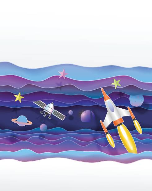 satellites and space rocket flying  in the universe cute paper art vector paper cut  illustration - abstract of paper spaceship launch to space stock illustrations, clip art, cartoons, & icons