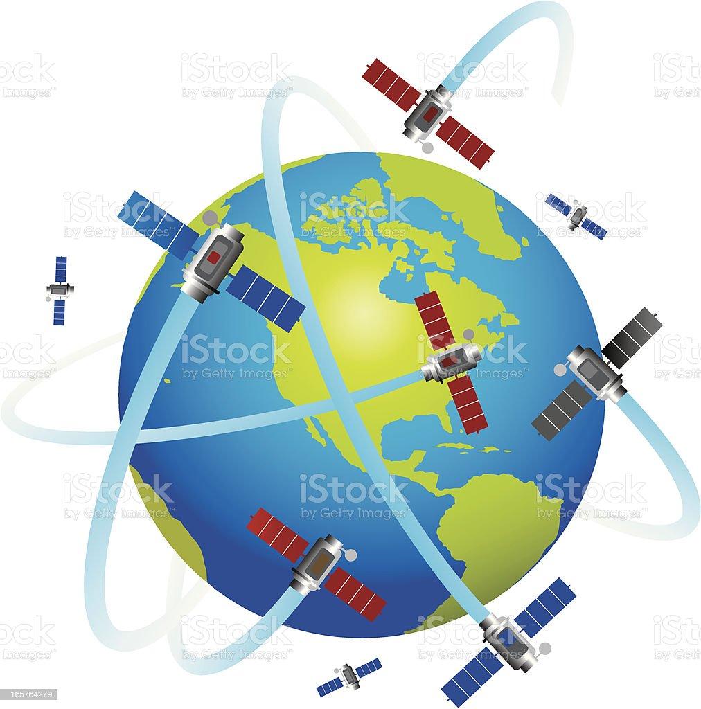 Satellites Orbiting The Globe vector art illustration