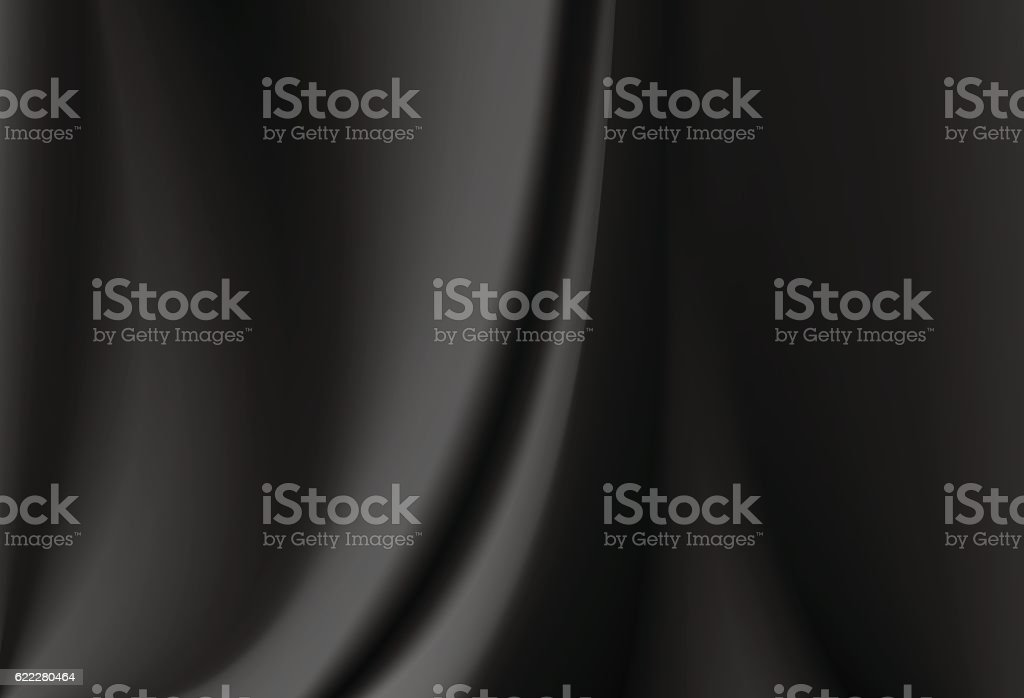 Satin black silk curtain with delicate folds. Abstract background. vector art illustration
