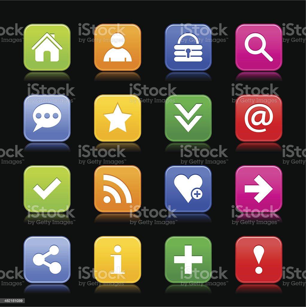Satin icon basic sign white pictogram square button black background royalty-free stock vector art