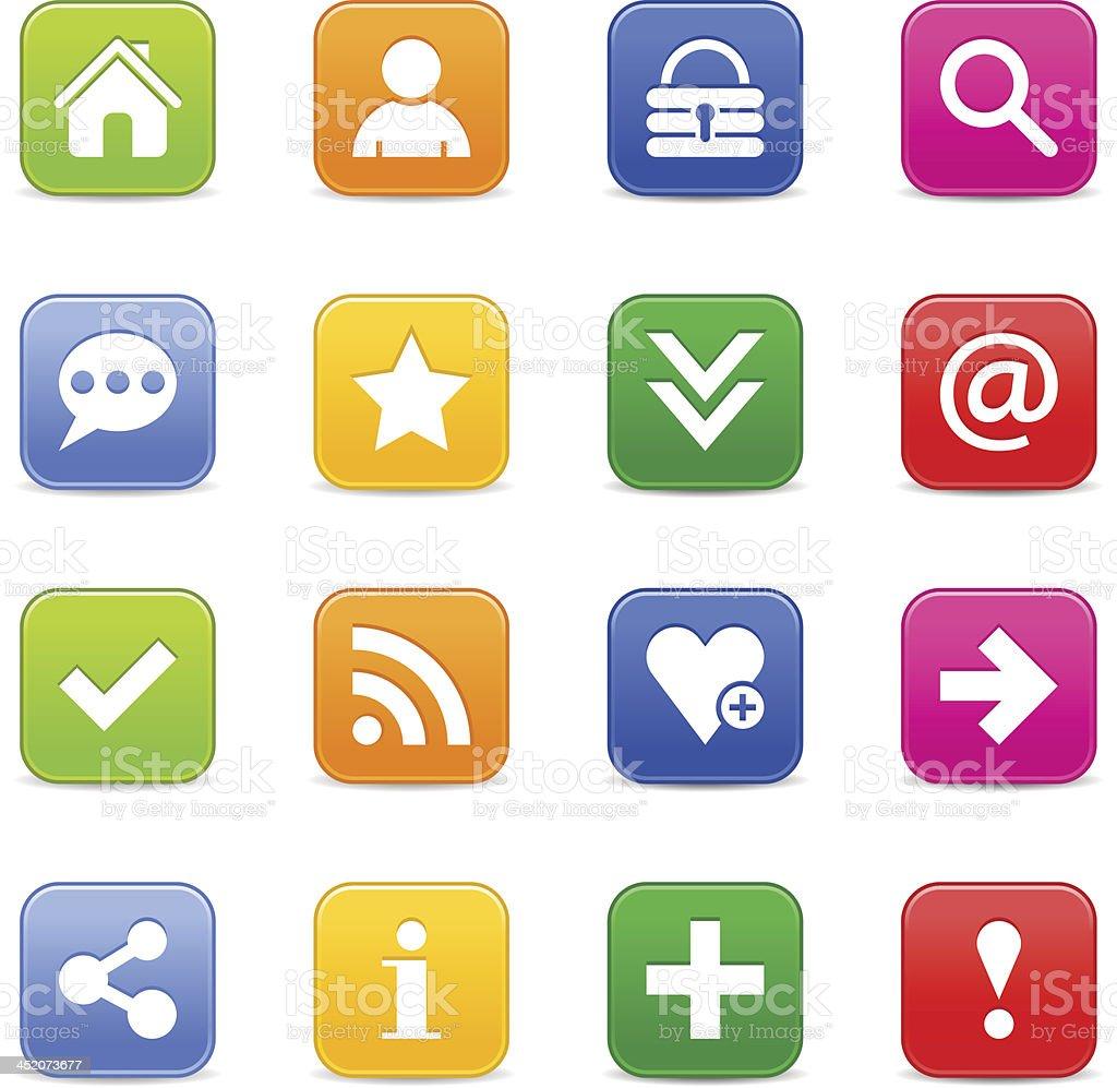Satin icon basic sign white pictogram square web internet button royalty-free stock vector art