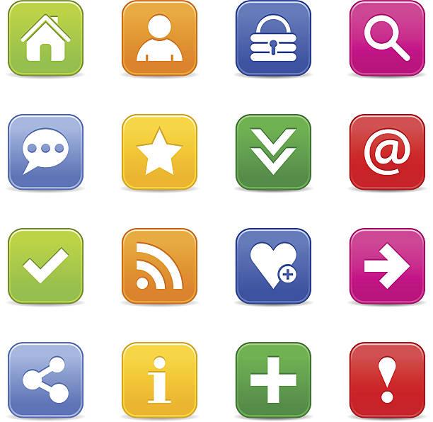 Icône de signe de base en Satin blanc pictogram web bouton internet carré - Illustration vectorielle
