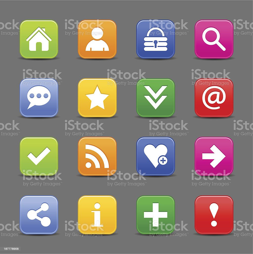 Satin icon basic white sign rounded square web internet button royalty-free stock vector art