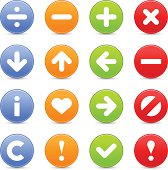 Icon set division, minus, plus, delete, arrow, information, heart, forbidden, copyright, check mark, exclamation point pictogram  web internet button satin circle shapes blue, orange, green, red colors with drop shadow on white background.