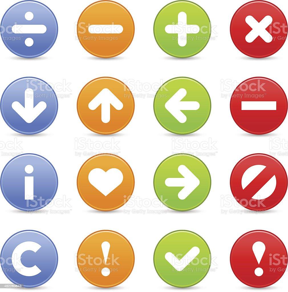 Satin icon set web internet circle button basic pictogram vector art illustration