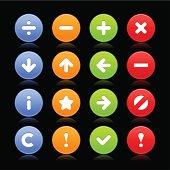 Satin icon set white sign circle button black background