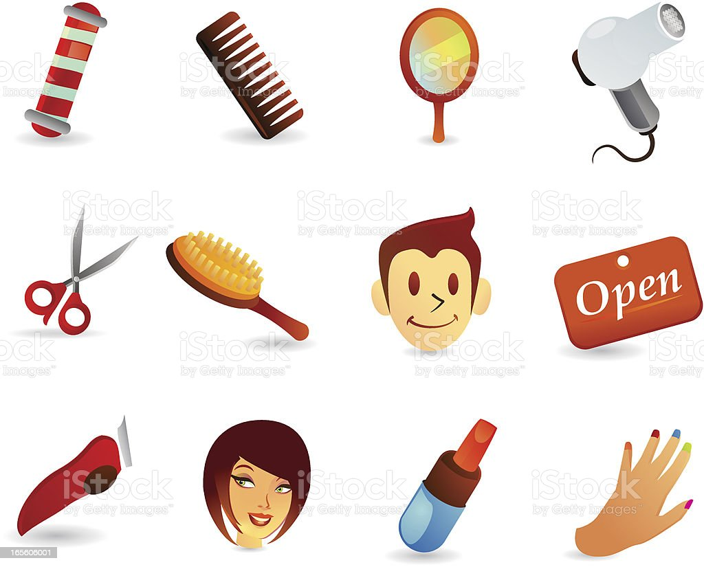 Satin Icons - Salon and Hairdresser vector art illustration