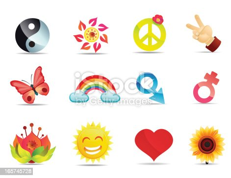Satin Peace And Love Symbols Stock Vector Art More Images Of 1970