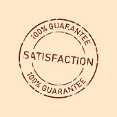 100% satisfaction guarantee badge with grunge texture, vintage rubber stamp concept.