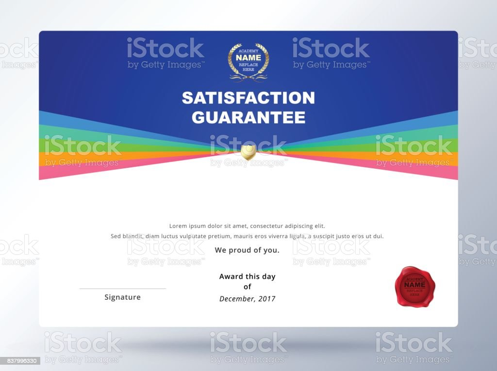 Satisfaction guarantee template design with simple concept satisfaction guarantee template design with simple concept certificate template design royalty free stock yelopaper Choice Image