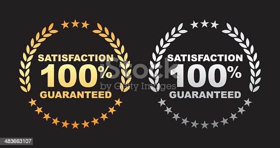 istock Satisfaction guaranteed 100% label 483663107