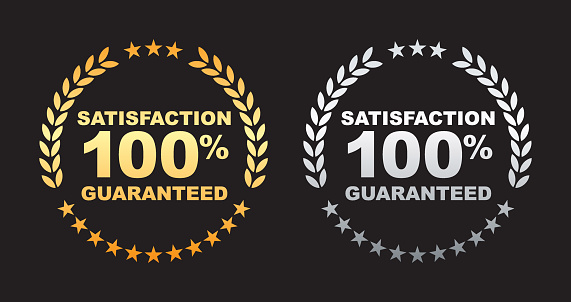 Vector of satisfaction guaranteed 100% label with gold and silver color. EPS10 file format.