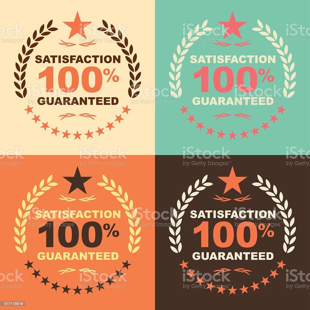 Satisfaction guaranteed 100% label vector art illustration
