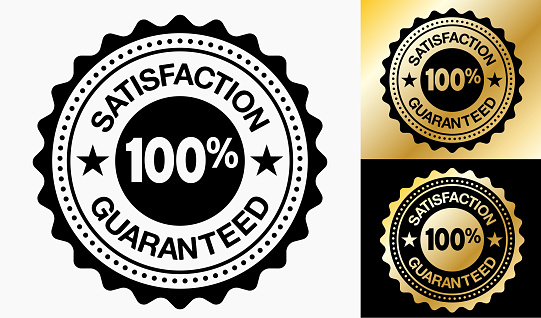 Satisfaction Guaranteed 100% Quality Badge. This royalty free vector illustration has a Satisfaction Guaranteed 100% written on a round badge. The badge is black and white in color and also has two more alternate versions in black and gold. The gold texture is shiny and has a gradient. This image is perfect for use in print, online and on mobile devices. Image is elegant and effective!