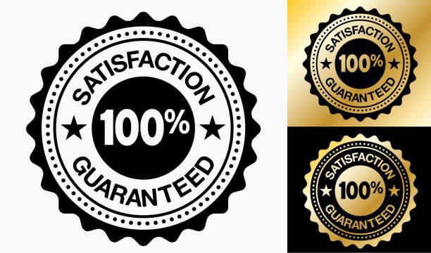 zufriedenheit garantiert 100 % qualität abzeichen. - reliability stock-grafiken, -clipart, -cartoons und -symbole