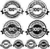 100% Satisfaction Guaranteed Badges Black and White Set