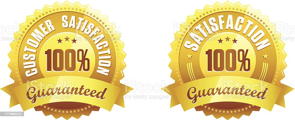 Satisfaction Guaranteed Badges. Retina display ready vector art illustration