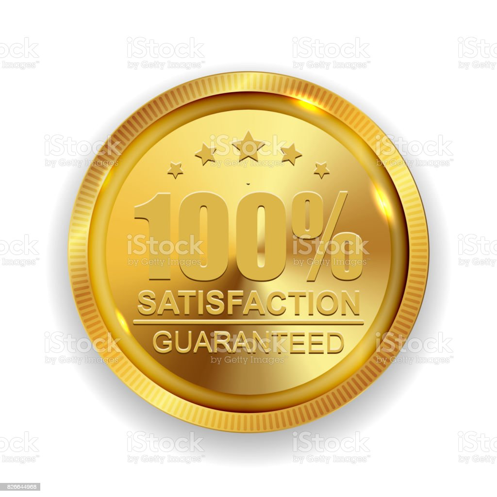 100% Satisfaction Guaranteed Golden Medal Label Icon Seal Sign vector art illustration