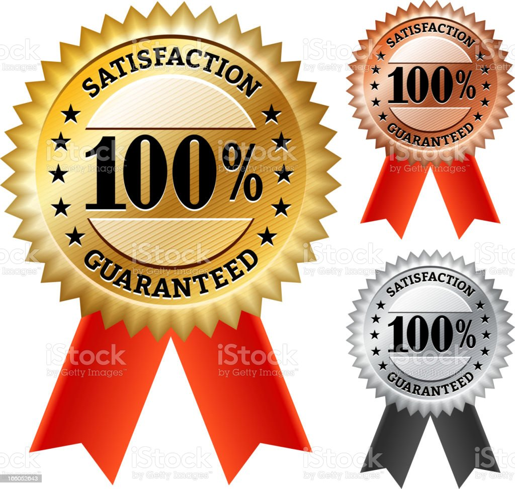 Satisfaction Guaranteed Ribbon Medal Collection royalty-free stock vector art