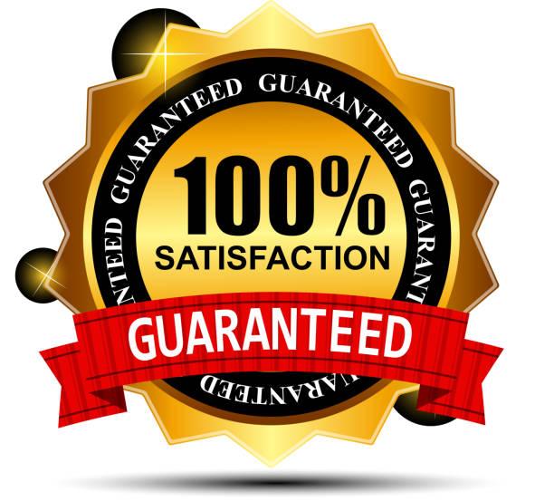 ilustraciones, imágenes clip art, dibujos animados e iconos de stock de 100% satisfaction etiqueta pegatinas de ilustración vectorial - corredor de bolsa
