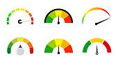 satisfaction meters scale set . Customer rating gauge