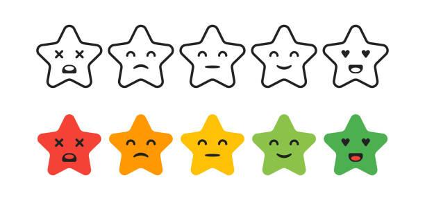 zufriedenheitsrate. satz von feedback sterne symbole in form von emotionen. ausgezeichnet, gut, normal, schlecht, schrecklich. vektor-illustration - smileys zum kopieren stock-grafiken, -clipart, -cartoons und -symbole