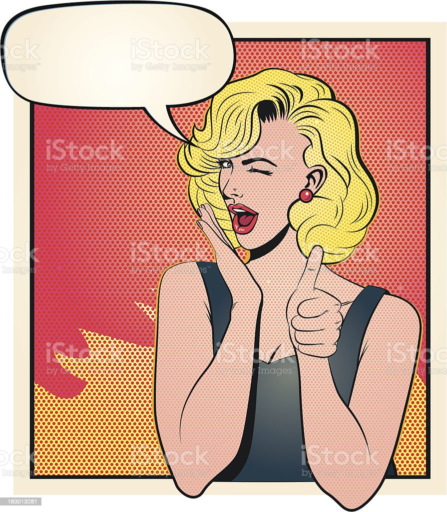 Satisfied Blonde Saying Ok vector art illustration