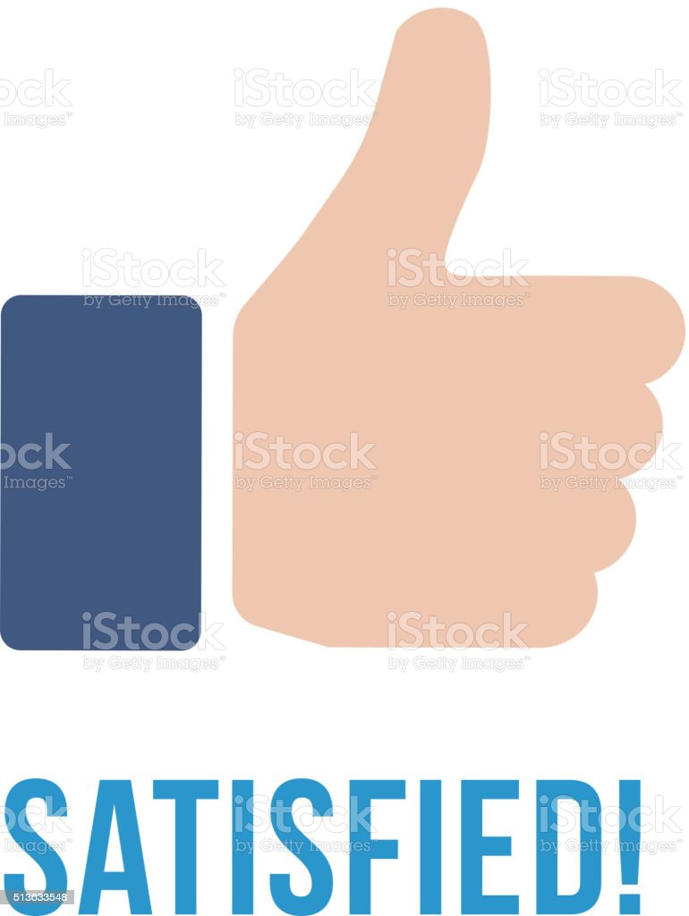 Satisfied icon with text. Thumb up flat sign vector art illustration