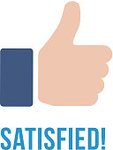Satisfied icon with text. Thumb up flat sign