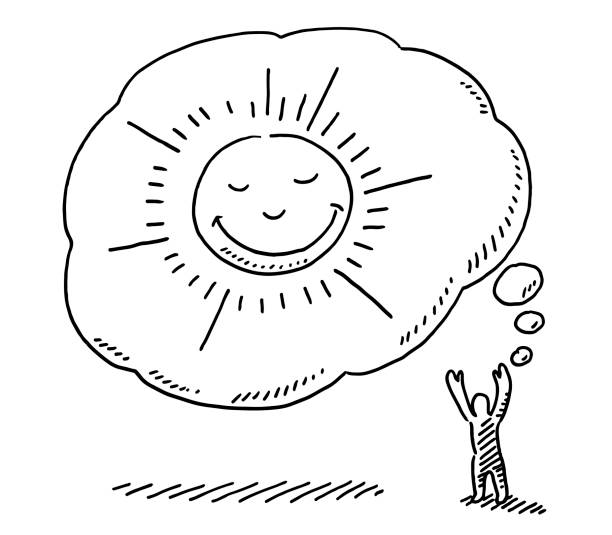 Satisfied Sun In Thought Bubble Drawing Hand-drawn vector drawing of a Satisfied Sun In a Thought Bubble of a little human figure. Black-and-White sketch on a transparent background (.eps-file). Included files are EPS (v10) and Hi-Res JPG. environment stock illustrations