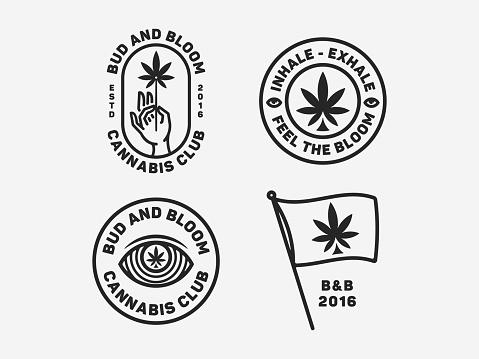 Sativa badge set black on white