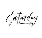 Saturday phrase. Hand drawn brush style modern calligraphy. Vectorillustration of handwritten lettering.