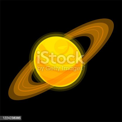 istock Saturn Cartoon illustration Isolated on black background. Jupiter vector icon. Yellow planet with ring Stock sticker. Cosmo Globo logo with rings. Orange giant flat element 1224238385