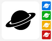 Saturn Icon Flat Graphic Design