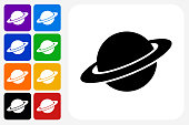 Saturn Icon Square Button Set. The icon is in black on a white square with rounded corners. The are eight alternative button options on the left in purple, blue, navy, green, orange, yellow, black and red colors. The icon is in white against these vibrant backgrounds. The illustration is flat and will work well both online and in print.