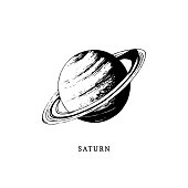 Saturn planet image on white background. Hand drawn vector illustration