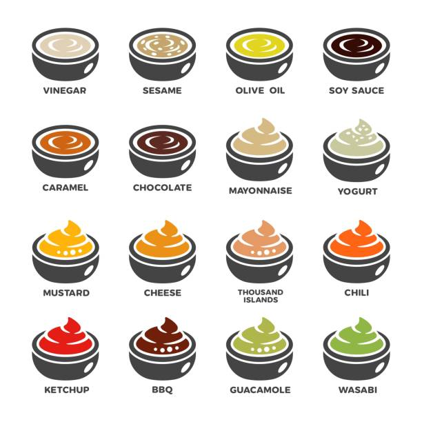 sauce icon set sauce and condiment icon set,vector and illustration sauce stock illustrations