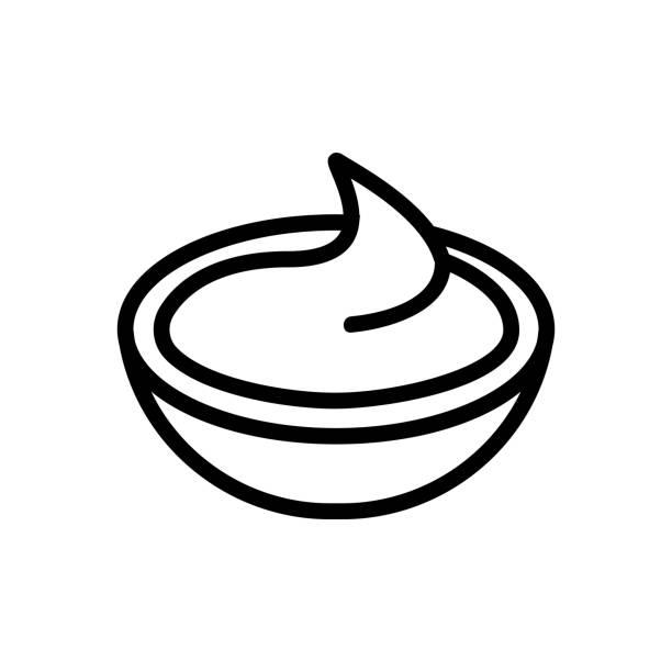 ilustrações, clipart, desenhos animados e ícones de vetor de ícone de molho. ilustração de símbolo de contorno isolado - comida salgada