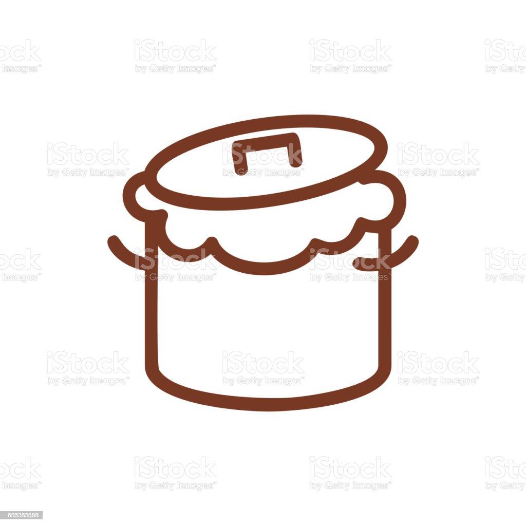 Saucepan and dough line sign. Symbol for bakery. Production bread ingredient saucepan and dough line sign symbol for bakery production bread ingredient - arte vetorial de stock e mais imagens de amassar royalty-free