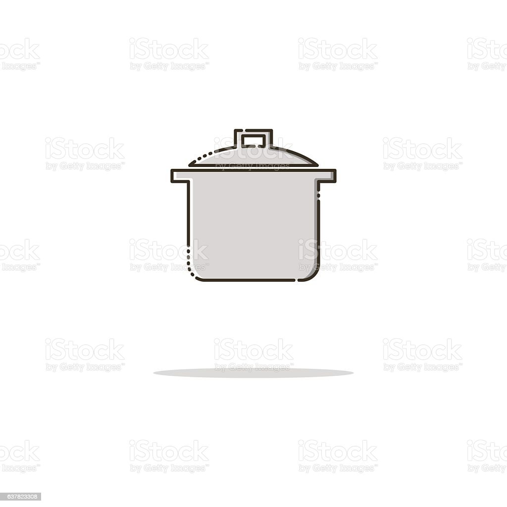 Saucepan color thin line icon. Mbe minimalism style vector art illustration