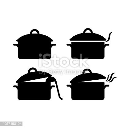 Black isolated pot casserole vector icon set. Saucepan silhouette open and closed with steam and soup ladle.