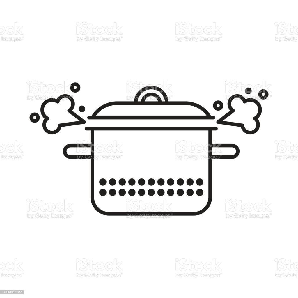 Saucepan With a Steam Clowd vector art illustration