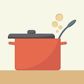 Saucepan with lid open.