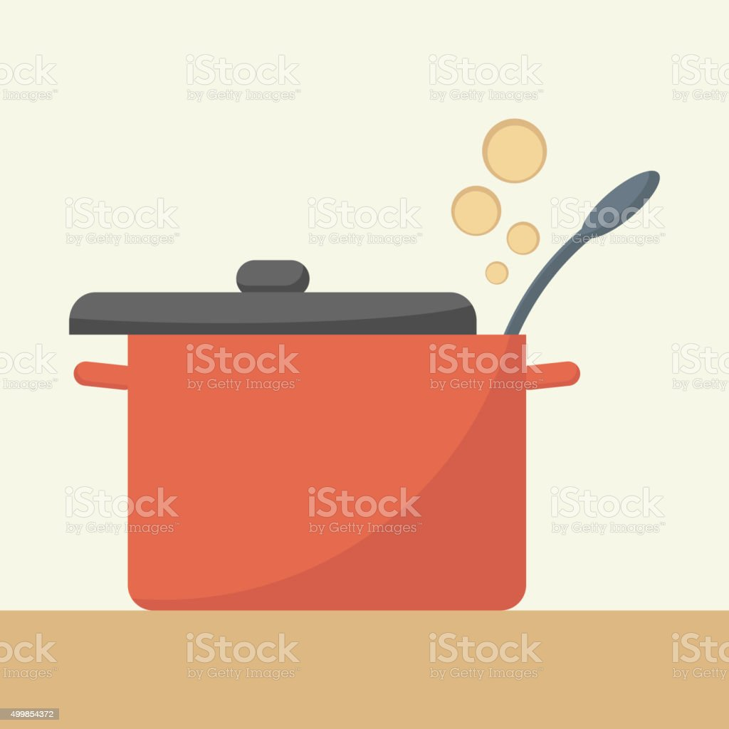 Saucepan with lid open. vector art illustration
