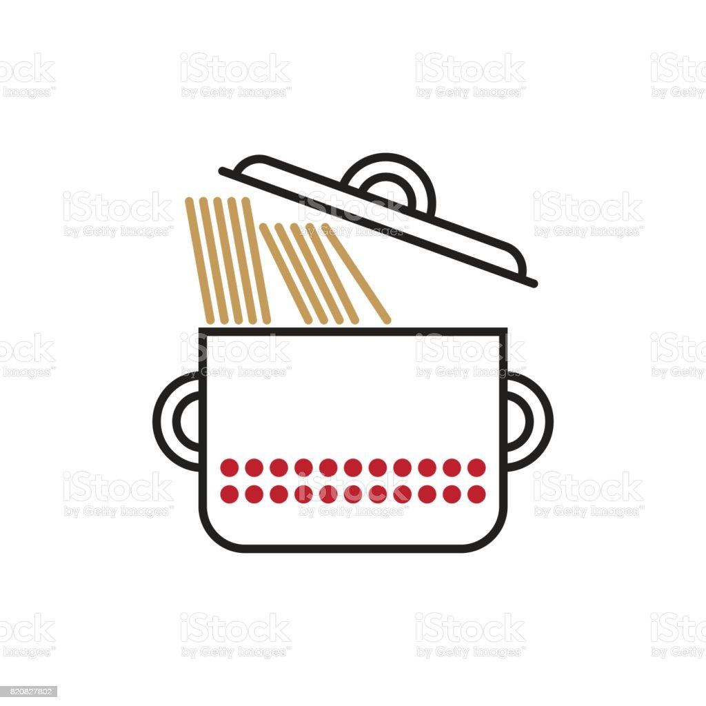 Saucepan With Spaghetti vector art illustration