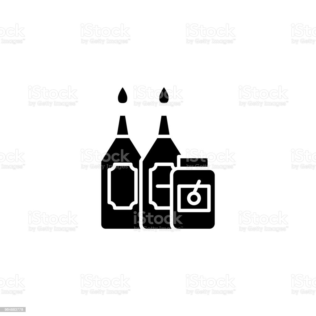 Sauces black icon concept. Sauces flat  vector symbol, sign, illustration. royalty-free sauces black icon concept sauces flat vector symbol sign illustration stock vector art & more images of bottle