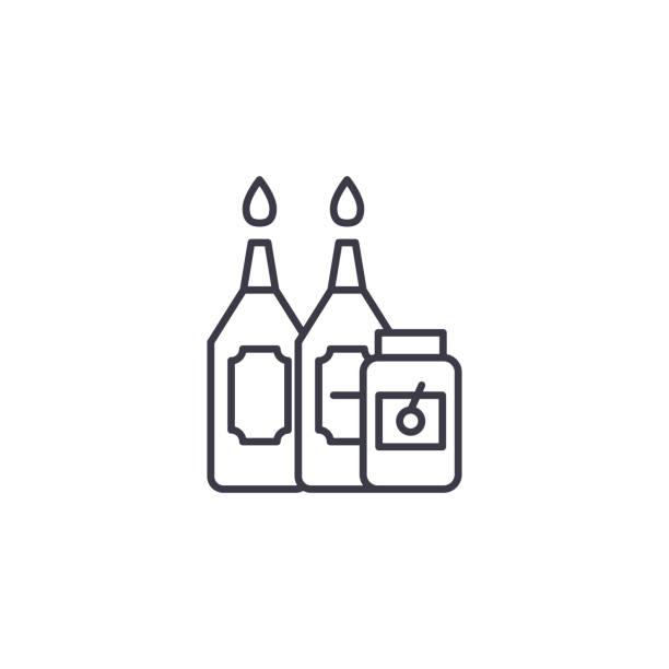 醬汁線形圖示概念。調味汁線向量符號, 符號, 插圖。向量藝術插圖