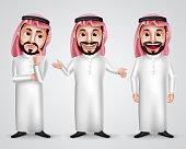 Saudi arab man vector character set wearing thobe and gutra