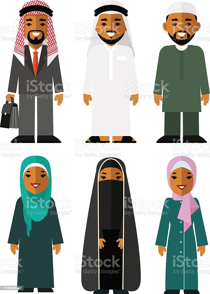 Saudi arab people characters stand set in flat style vector art illustration